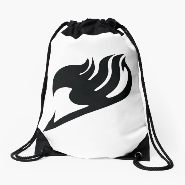Fairy Tail logo, handmade, black and white Drawstring Bag