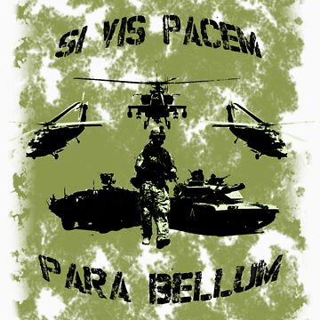 Si vis pacem para bellum USA oliv w. black font by freshi85