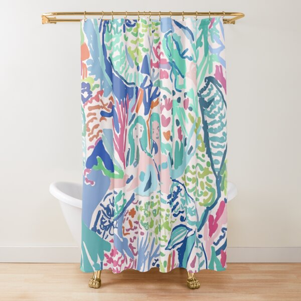 Lilly Pulitzer inspired Mermaid cove Shower Curtain