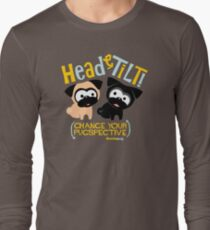 Pug Head Tilt (gold & blue) Long Sleeve T-Shirt