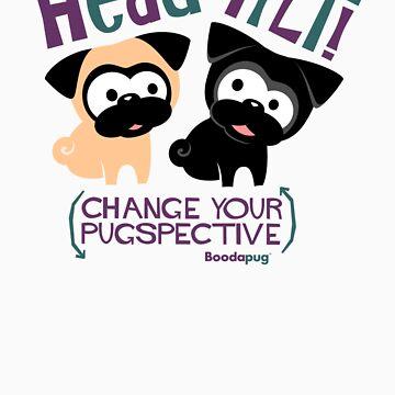 Pug Head Tilt (Blue and Purple) von boodapug