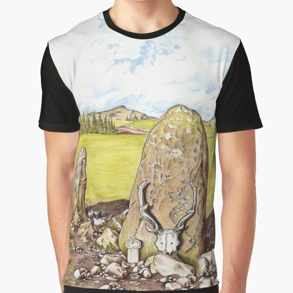 Antlered Crown and Standing Stone Graphic T-Shirt