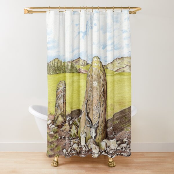 Antlered Crown and Standing Stone Shower Curtain