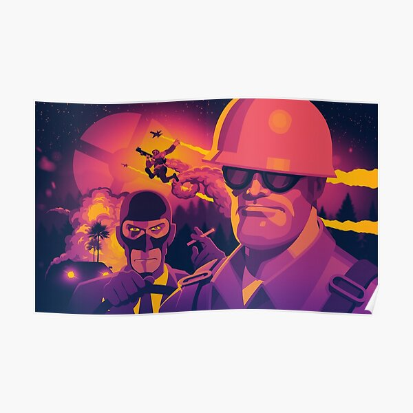 TF2 Mercs: Spy, Soldier & Engineer (Sunset) Poster