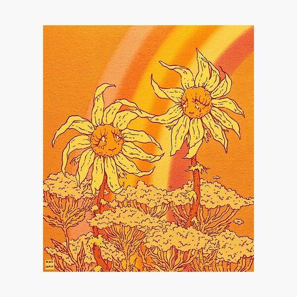 y2k orange flower aesthetic Photographic Print
