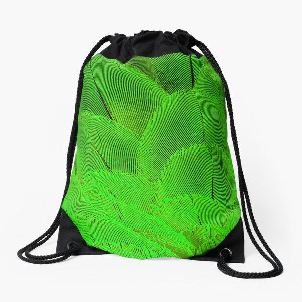 Neon psycodelic feathers bright yellow green Drawstring Bag