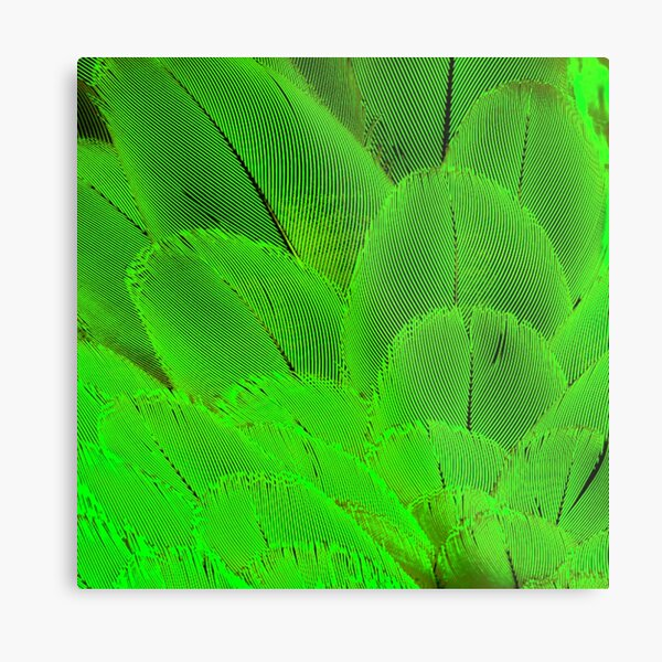 Neon psycodelic feathers bright yellow green Metal Print