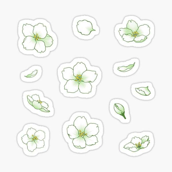Falling White-Green Sakura Cherry Blossom Sticker