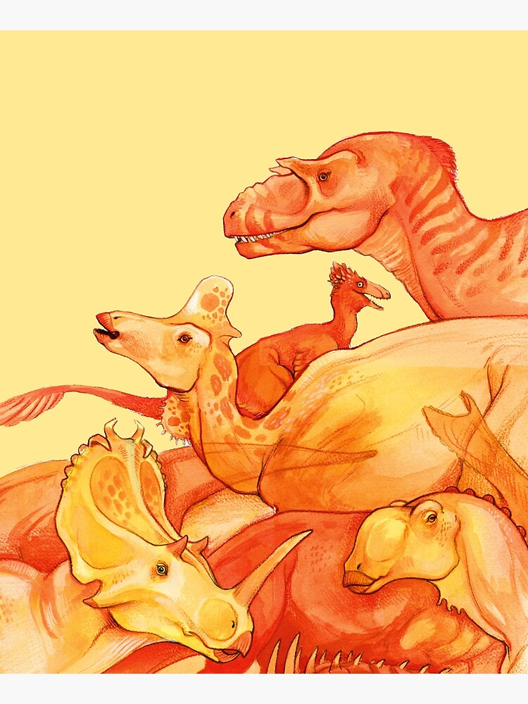 cretaceous congregation - orange & yellow dinosaurs by thoughtsupnorth
