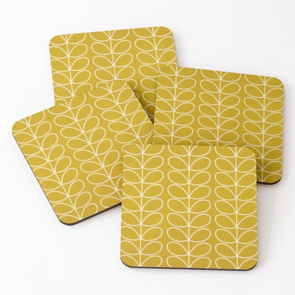 Orla kiely yellow linear design Coasters (Set of 4)