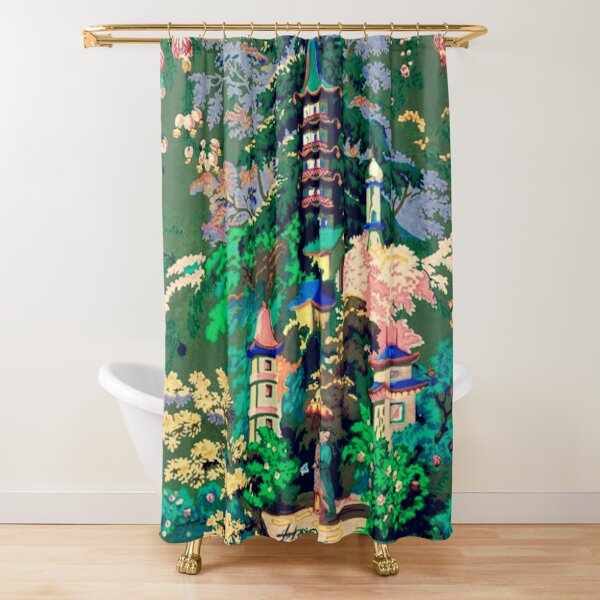 Antique Chinoiserie Wallpaper Shower Curtain