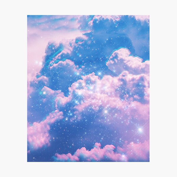 Clouds Aesthetic Glitch Photographic Print