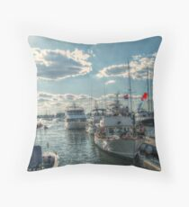 Boats In Newport Harbor Throw Pillow
