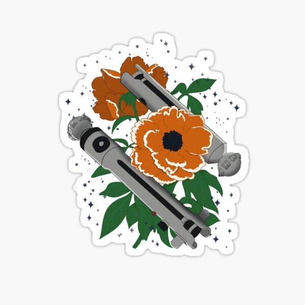 Star Wars Ahsoka Tano Lightsaber Floral Design Sticker
