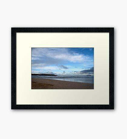 Blue Skies at Harlyn Bay, Cornwall Framed Print