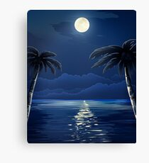 Tropical Moon over Water Canvas Print