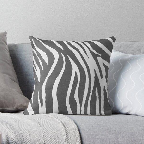 Chic Grey Zebra Print Throw Pillow