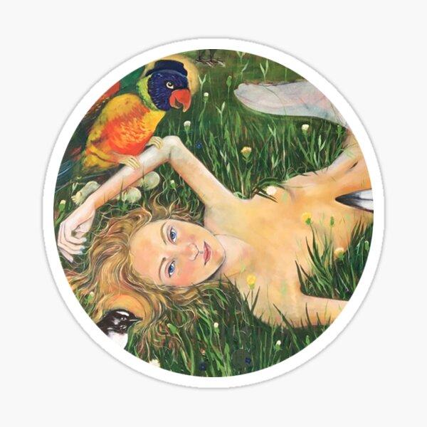 girl with birds Sticker