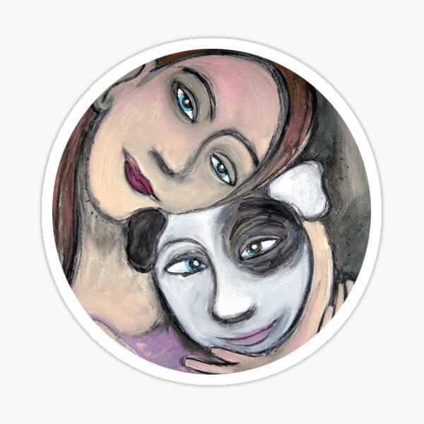 girl and dog Sticker