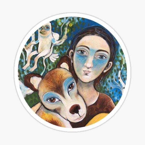 boy and dog  Sticker