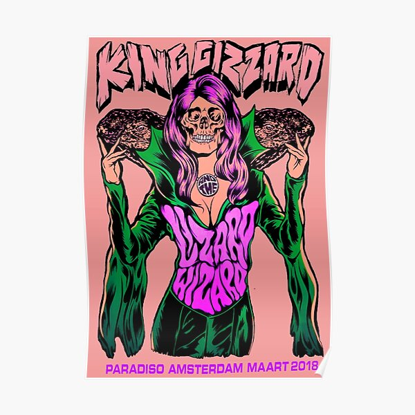 King Gizzard And The Lizard Wizard, Paradiso Amsterdam Maart 2019 *pink* Poster
