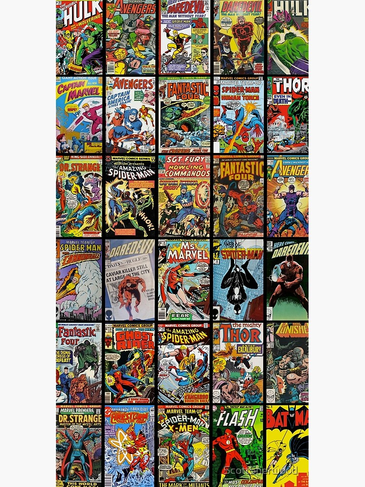 Vintage Superhero Comic Book Collection Pattern Face Mask by ScottSherwood