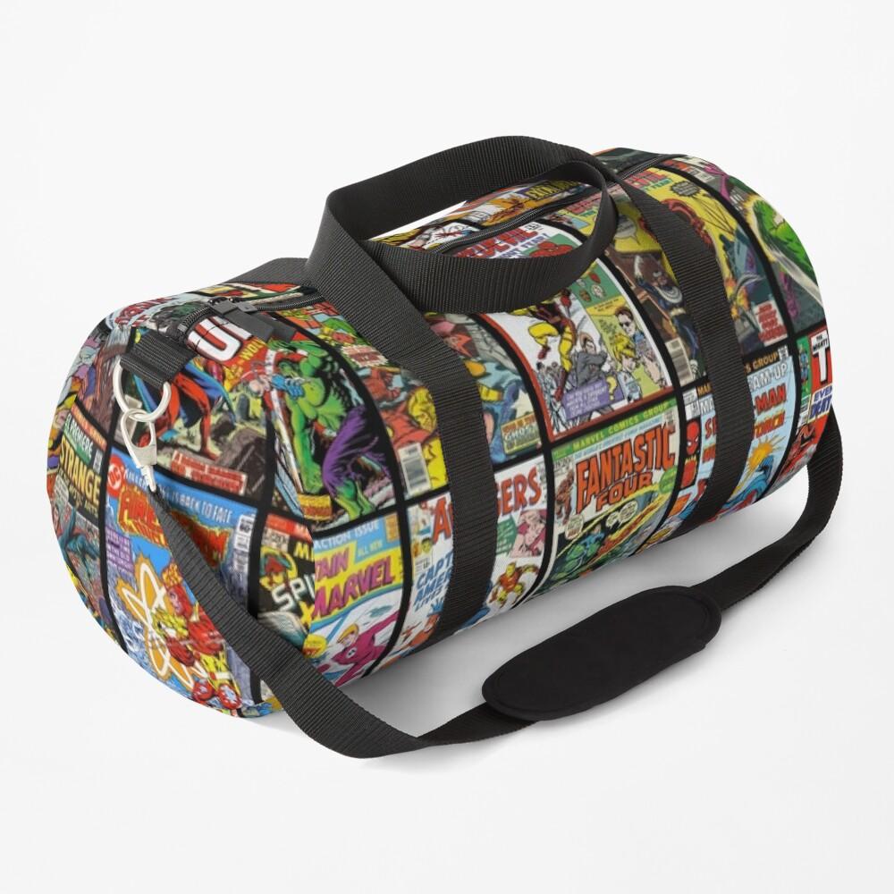 Vintage Superhero Comic Book Collection Pattern Face Mask Duffle Bag
