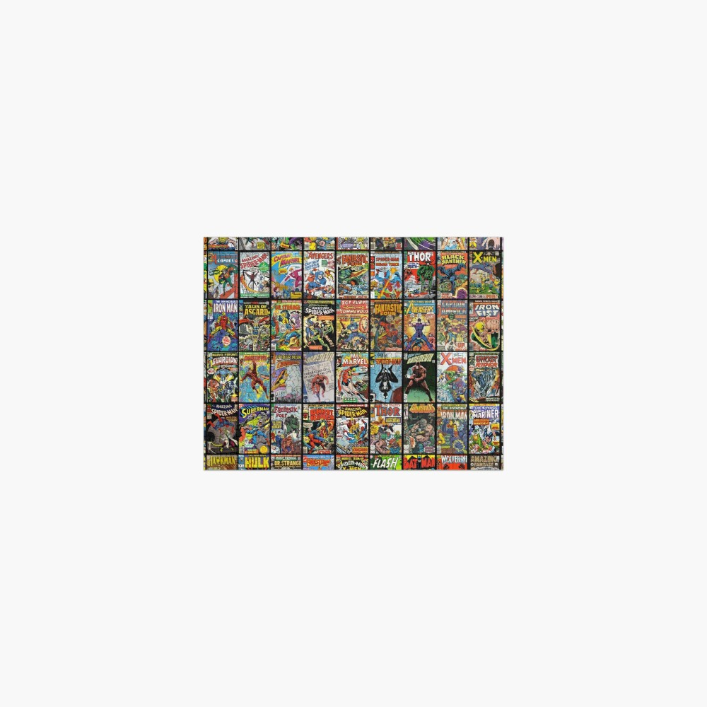 Vintage Superhero Comic Book Collection Pattern Face Mask Jigsaw Puzzle