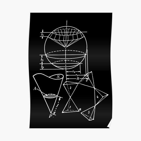 Vintage Math Diagrams - white on black Poster