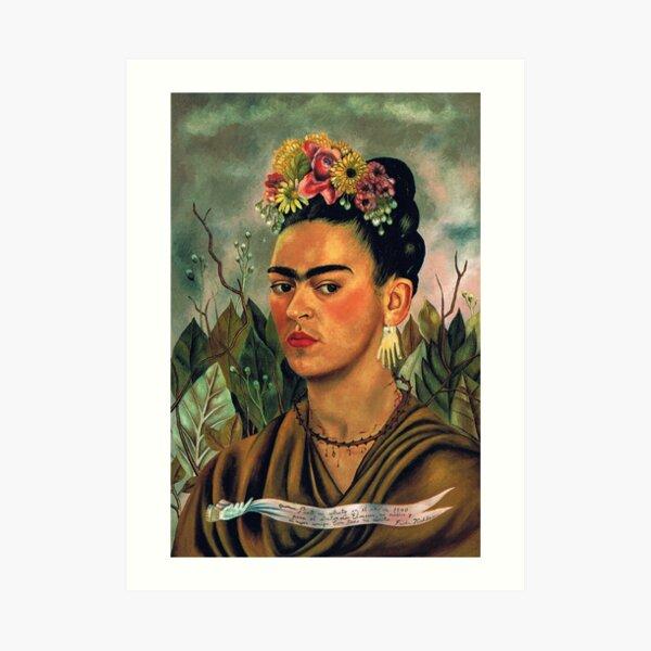 Autorretrato dedicado al Dr. Eloesser por Frida Kahlo Lámina artística