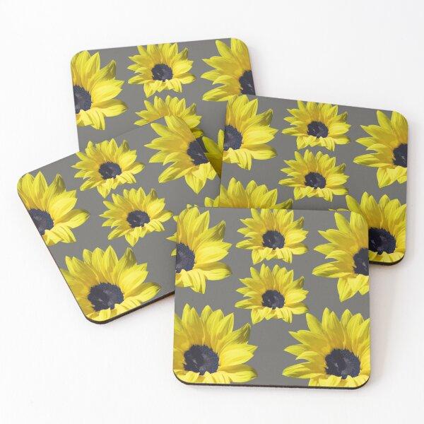 Sunflowers On Grey Coasters (Set of 4)