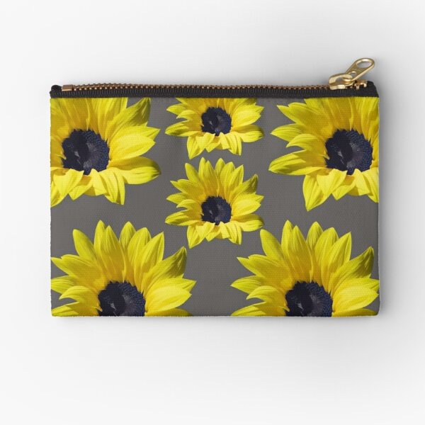 Sunflowers On Grey Zipper Pouch