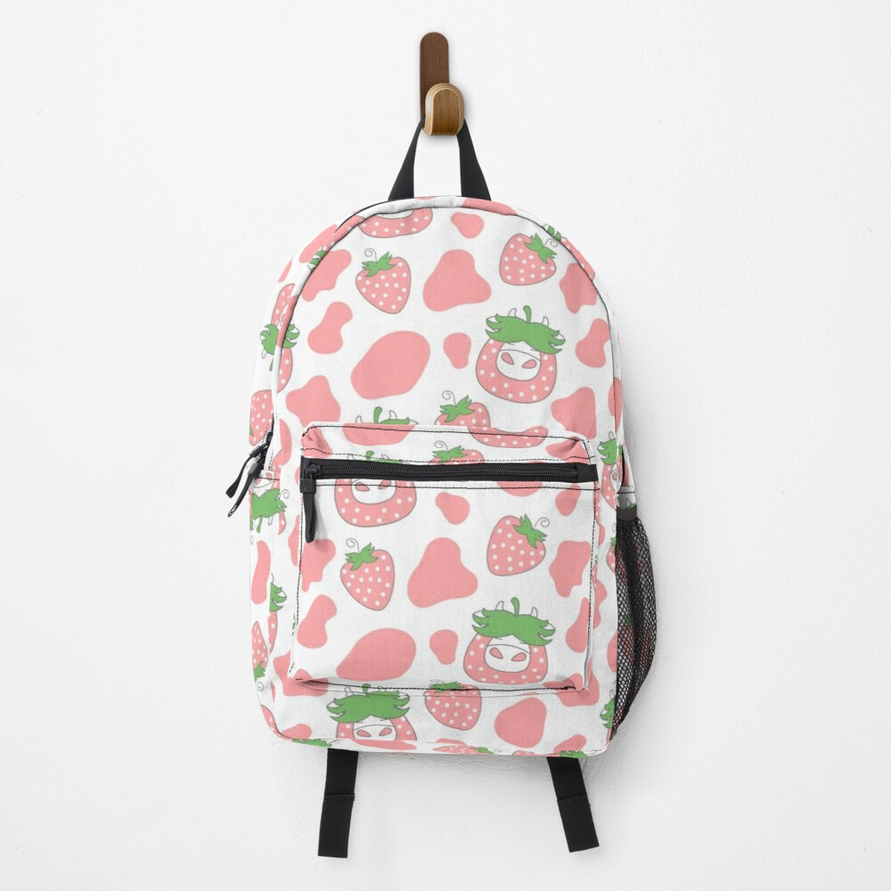 Pink Strawberry Cow Backpack