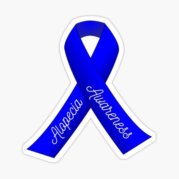Alopecia Blue Ribbon for Alopecia Awareness Month Sticker