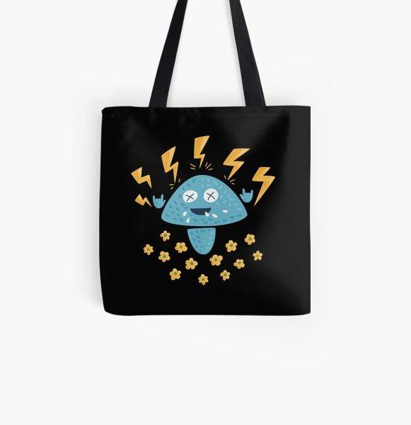 Funny Heavy Metal Mushroom All Over Print Tote Bag