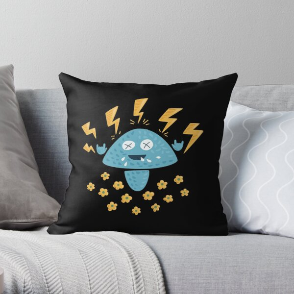 Funny Heavy Metal Mushroom Throw Pillow
