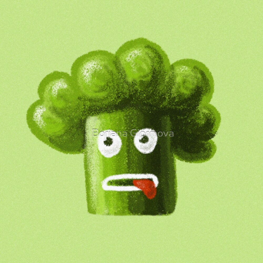 Funny Broccoli Is Healthy Food by Boriana Giormova