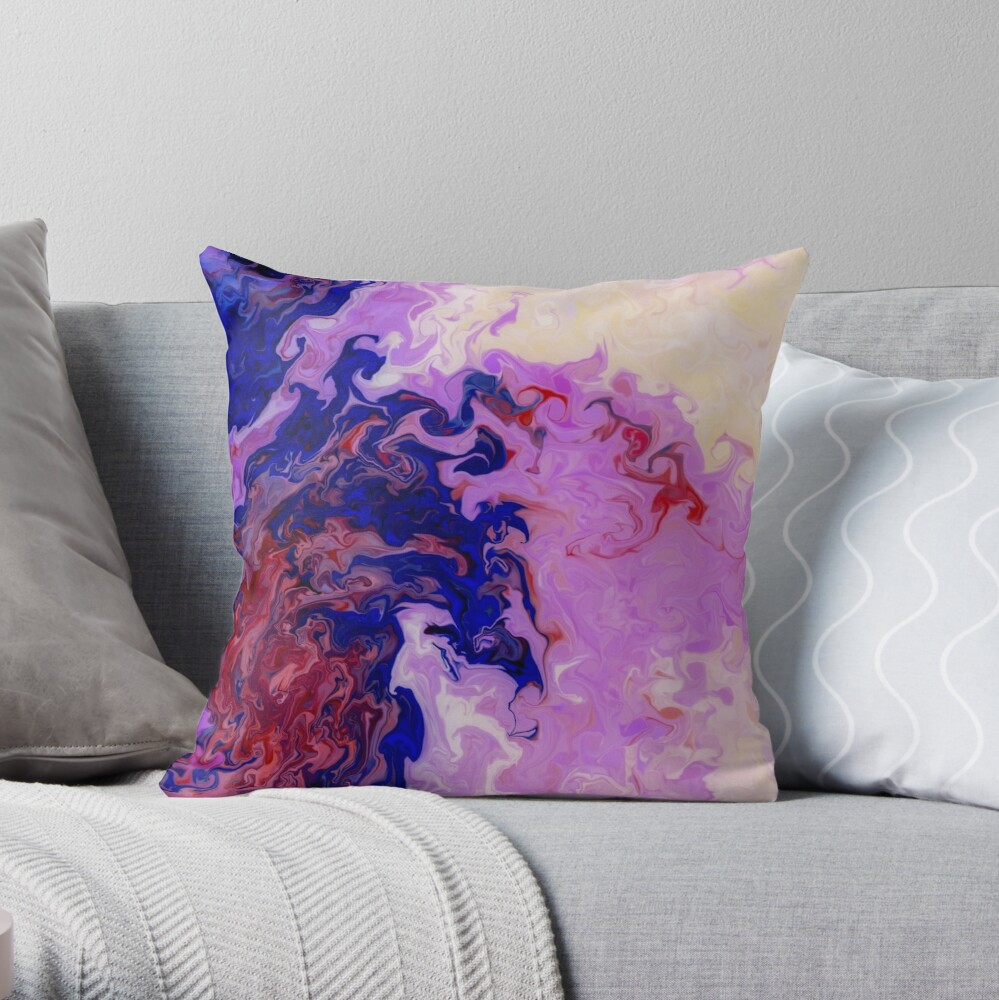 Multicolored unique everlasting pattern, aesthetic designs, acrylics Throw Pillow