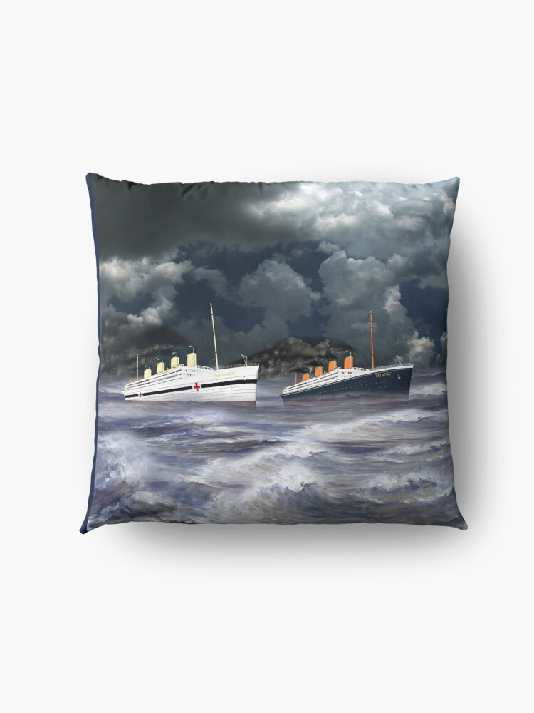 Alternate view of RMS Titanic together with her sister the HMHS Britannic 1912 Floor Pillow