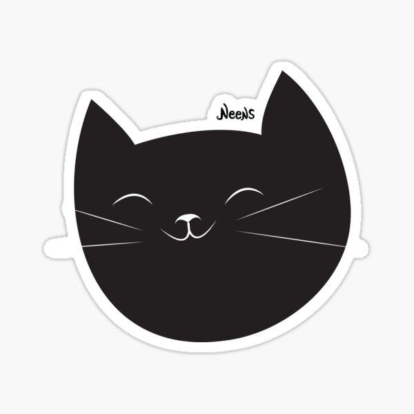 Black cat happy face Sticker