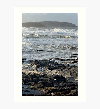 Stormy Sea, Newtrain Bay, Cornwall Art Print
