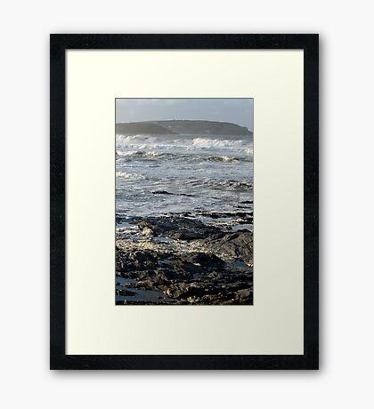 Stormy Sea, Newtrain Bay, Cornwall Framed Print