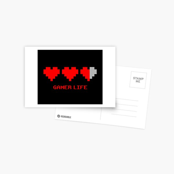 8-Bit Pixel Gamer Life with Two & Half a Life Hearts Retro Style Gamer Postcard