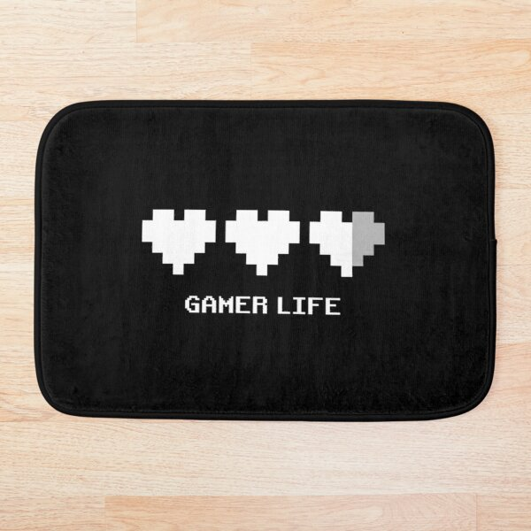 8-Bit Pixel Gamer Life with Two & Half a Life Hearts Retro Style Gamer in White Bath Mat