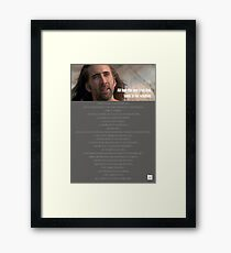 One True God, Nic Cage Framed Print