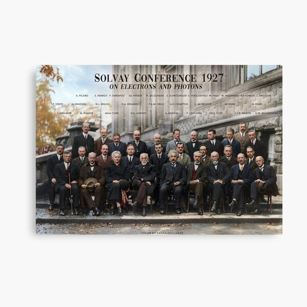 Solvay Conference 1927 poster. Einstein, Curie, Bohr and more. Canvas Print