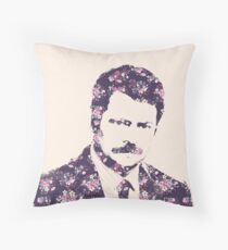 Ron Swanson in Florals Throw Pillow