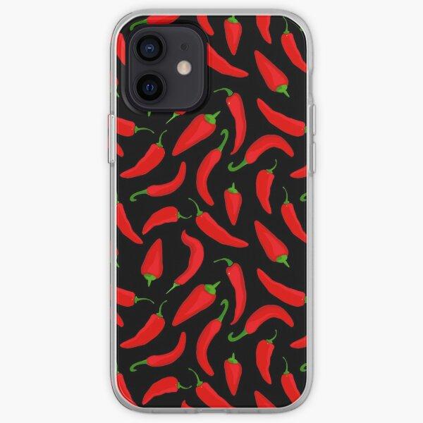 Patrón de ají rojo sobre negro Funda blanda para iPhone