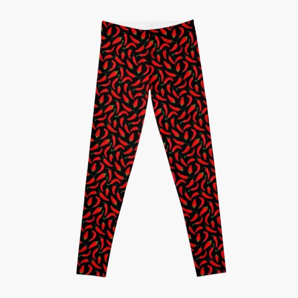 Red Chilli Pepper Pattern on Black Leggings
