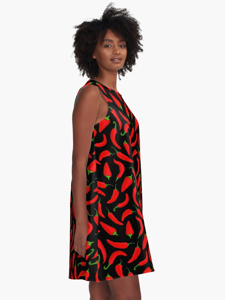 Alternate view of Red Chilli Pepper Pattern on Black A-Line Dress